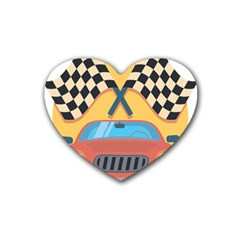 Automobile Car Checkered Drive Heart Coaster (4 pack)