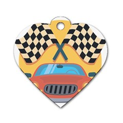 Automobile Car Checkered Drive Dog Tag Heart (One Side)