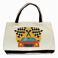 Automobile Car Checkered Drive Basic Tote Bag (Two Sides)