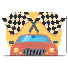 Automobile Car Checkered Drive Large Doormat