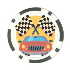 Automobile Car Checkered Drive Poker Chip Card Guards