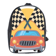 Automobile Car Checkered Drive School Bags(Large)