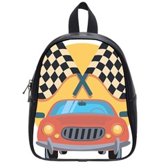 Automobile Car Checkered Drive School Bags (Small)