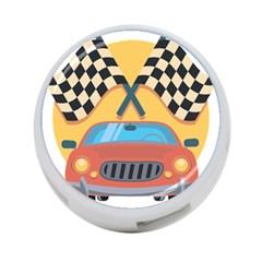 Automobile Car Checkered Drive 4-Port USB Hub (One Side)