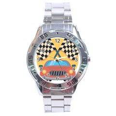 Automobile Car Checkered Drive Stainless Steel Analogue Watch