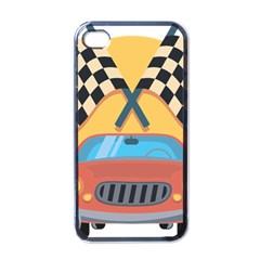Automobile Car Checkered Drive Apple iPhone 4 Case (Black)