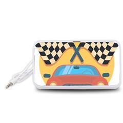 Automobile Car Checkered Drive Portable Speaker (White)