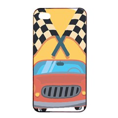 Automobile Car Checkered Drive Apple iPhone 4/4s Seamless Case (Black)