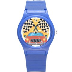 Automobile Car Checkered Drive Round Plastic Sport Watch (S)