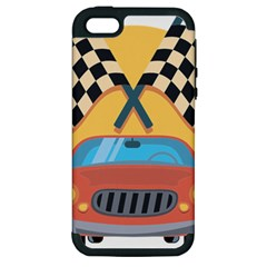 Automobile Car Checkered Drive Apple iPhone 5 Hardshell Case (PC+Silicone)