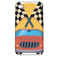 Automobile Car Checkered Drive Apple iPhone 4/4S Hardshell Case (PC+Silicone)