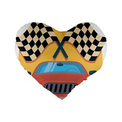 Automobile Car Checkered Drive Standard 16  Premium Heart Shape Cushions