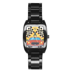 Automobile Car Checkered Drive Stainless Steel Barrel Watch