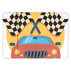 Automobile Car Checkered Drive Samsung Galaxy Tab 8.9  P7300 Flip Case