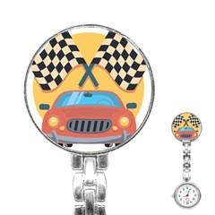 Automobile Car Checkered Drive Stainless Steel Nurses Watch