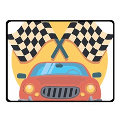 Automobile Car Checkered Drive Double Sided Fleece Blanket (Small)