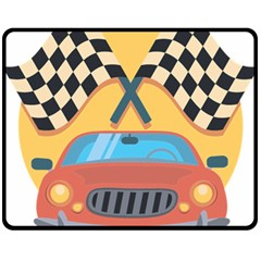 Automobile Car Checkered Drive Double Sided Fleece Blanket (Medium)