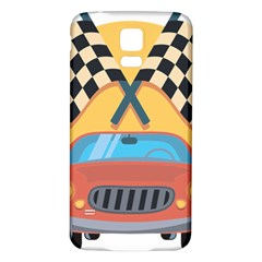 Automobile Car Checkered Drive Samsung Galaxy S5 Back Case (White)