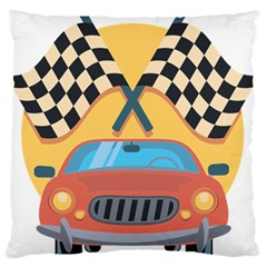 Automobile Car Checkered Drive Large Flano Cushion Case (Two Sides)