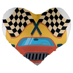 Automobile Car Checkered Drive Large 19  Premium Flano Heart Shape Cushions