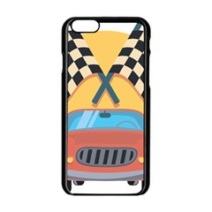 Automobile Car Checkered Drive Apple iPhone 6/6S Black Enamel Case