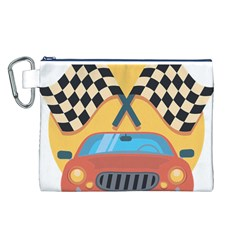 Automobile Car Checkered Drive Canvas Cosmetic Bag (L)