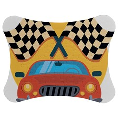 Automobile Car Checkered Drive Jigsaw Puzzle Photo Stand (Bow)