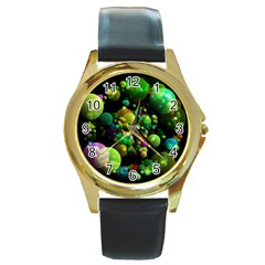 Abstract Balls Color About Round Gold Metal Watch