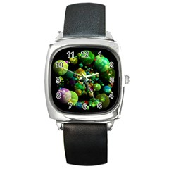 Abstract Balls Color About Square Metal Watch