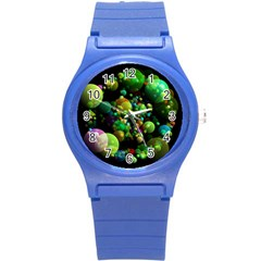 Abstract Balls Color About Round Plastic Sport Watch (S)