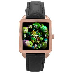 Abstract Balls Color About Rose Gold Leather Watch