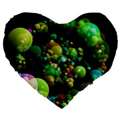 Abstract Balls Color About Large 19  Premium Flano Heart Shape Cushions