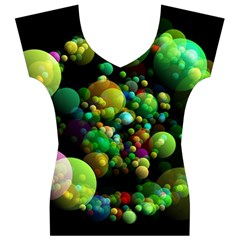 Abstract Balls Color About Women s V-Neck Cap Sleeve Top