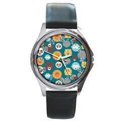 Animal Pattern Round Metal Watch