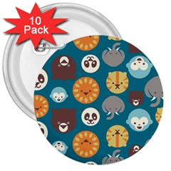 Animal Pattern 3  Buttons (10 pack)