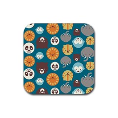 Animal Pattern Rubber Square Coaster (4 pack)