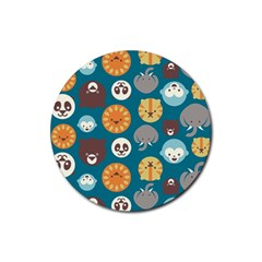 Animal Pattern Rubber Round Coaster (4 pack)