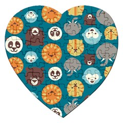 Animal Pattern Jigsaw Puzzle (Heart)