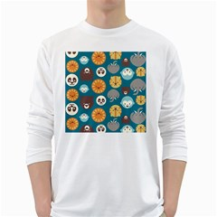 Animal Pattern White Long Sleeve T-Shirts