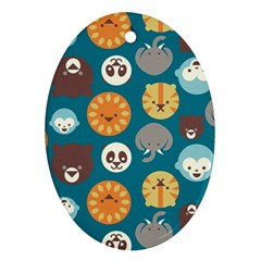 Animal Pattern Oval Ornament (Two Sides)