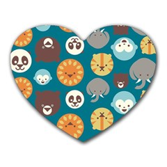 Animal Pattern Heart Mousepads