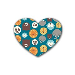 Animal Pattern Rubber Coaster (Heart)
