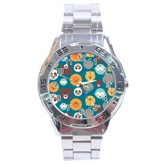 Animal Pattern Stainless Steel Analogue Watch