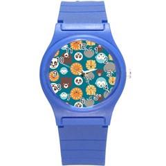 Animal Pattern Round Plastic Sport Watch (S)