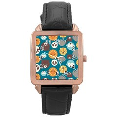Animal Pattern Rose Gold Leather Watch