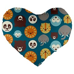 Animal Pattern Large 19  Premium Flano Heart Shape Cushions