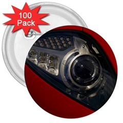 Auto Red Fast Sport 3  Buttons (100 pack)
