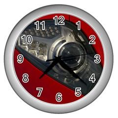 Auto Red Fast Sport Wall Clocks (Silver)