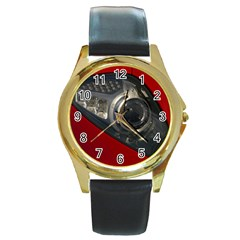 Auto Red Fast Sport Round Gold Metal Watch