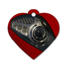 Auto Red Fast Sport Dog Tag Heart (Two Sides)